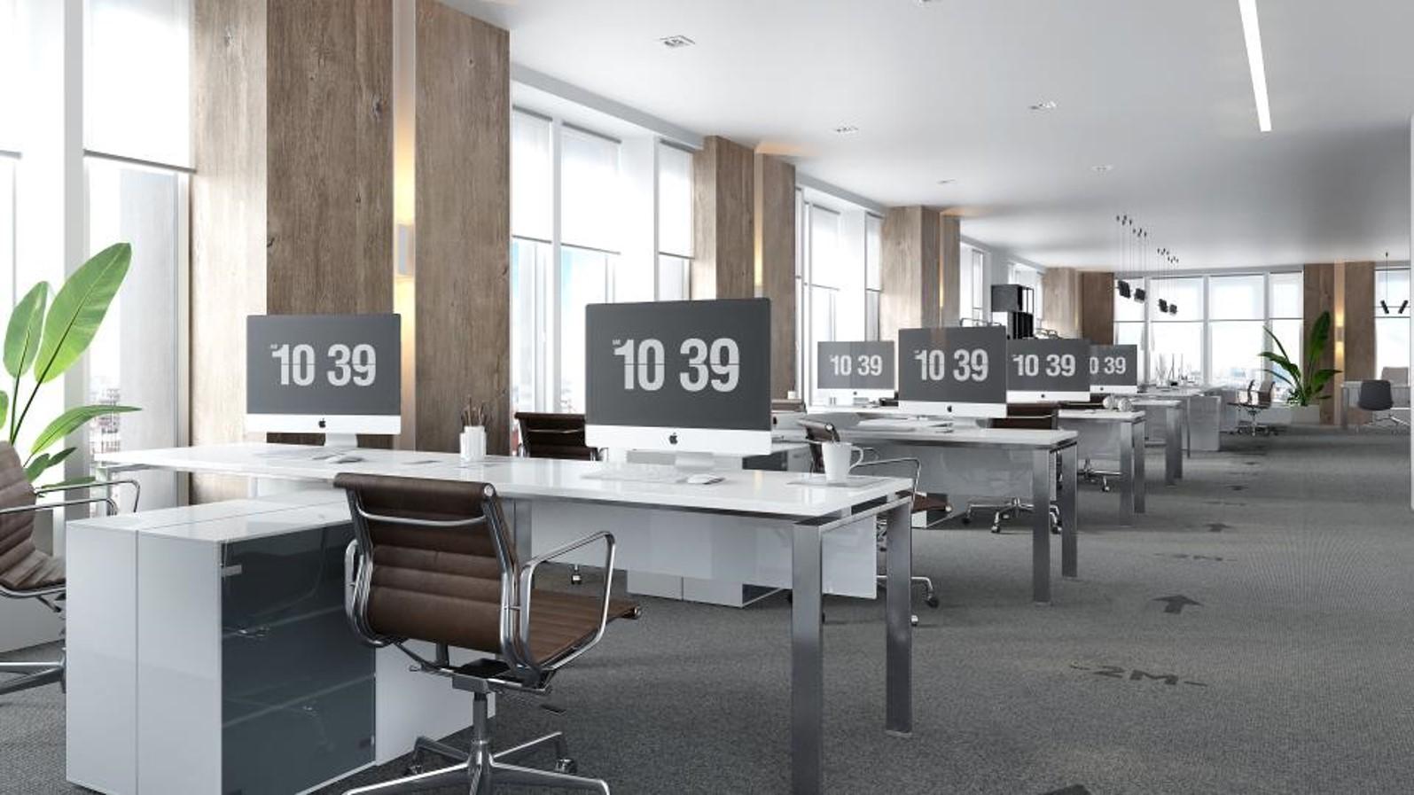 Moquette imprimée signalétique marquage au sol dans les bureaux professionnels d'entreprise pour flux de circulation, distanciation